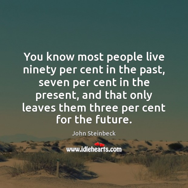 You know most people live ninety per cent in the past, seven Future Quotes Image