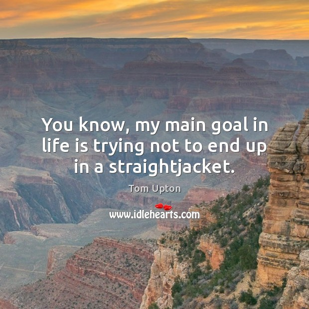 You know, my main goal in life is trying not to end up in a straightjacket. Tom Upton Picture Quote