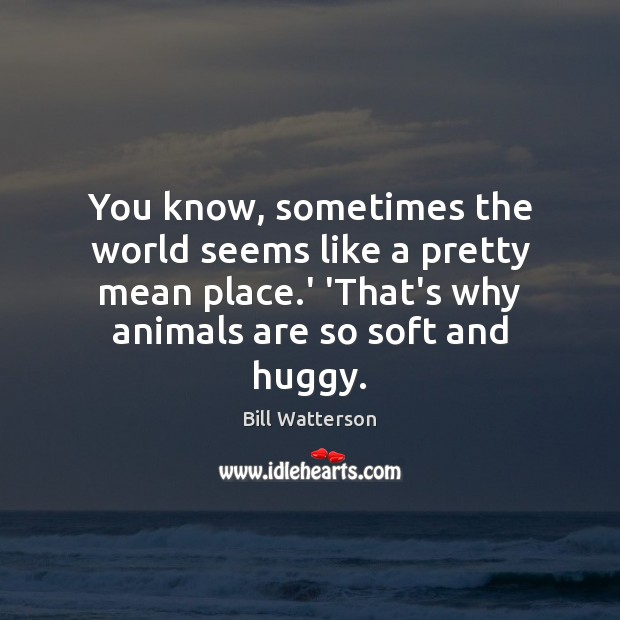 You know, sometimes the world seems like a pretty mean place.' Bill Watterson Picture Quote