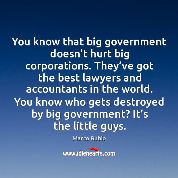 Image, You know that big government doesn't hurt big corporations.