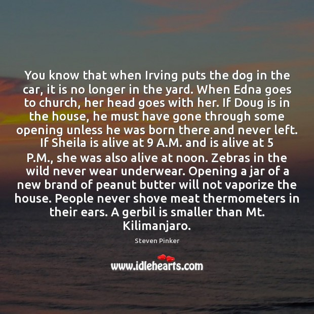 You know that when Irving puts the dog in the car, it Steven Pinker Picture Quote