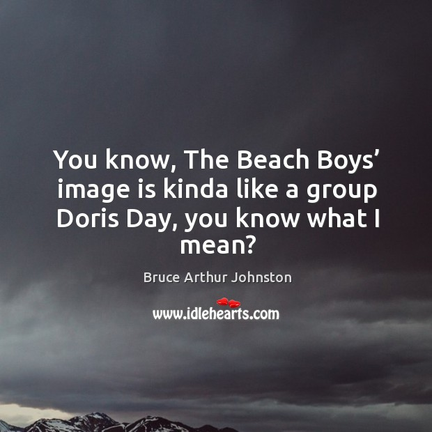 Image, You know, the beach boys' image is kinda like a group doris day, you know what I mean?