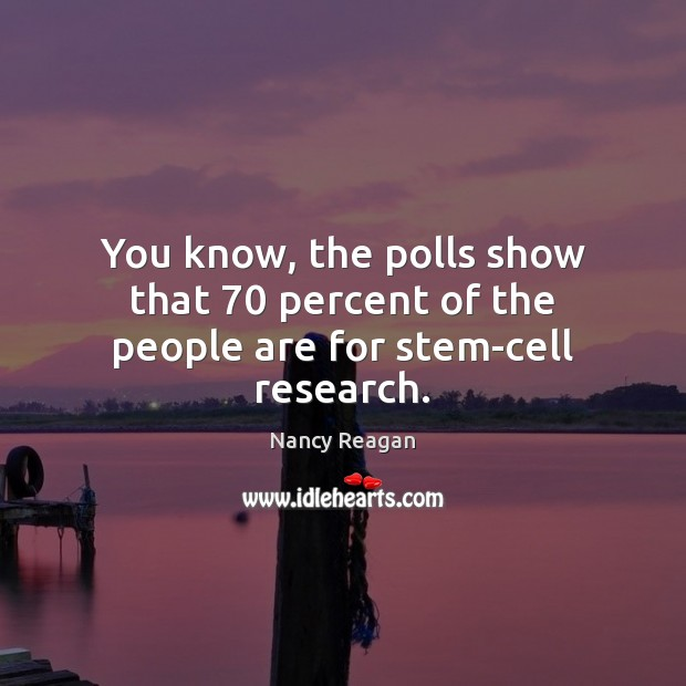 You know, the polls show that 70 percent of the people are for stem-cell research. Nancy Reagan Picture Quote