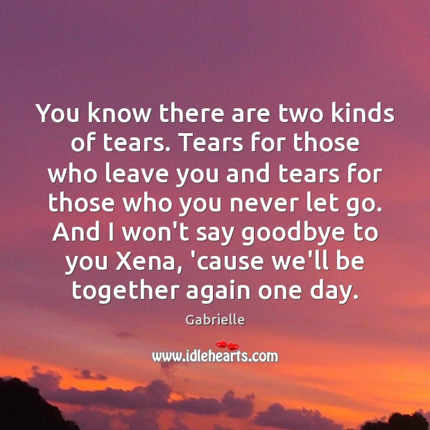 You know there are two kinds of tears. Tears for those who Goodbye Quotes Image