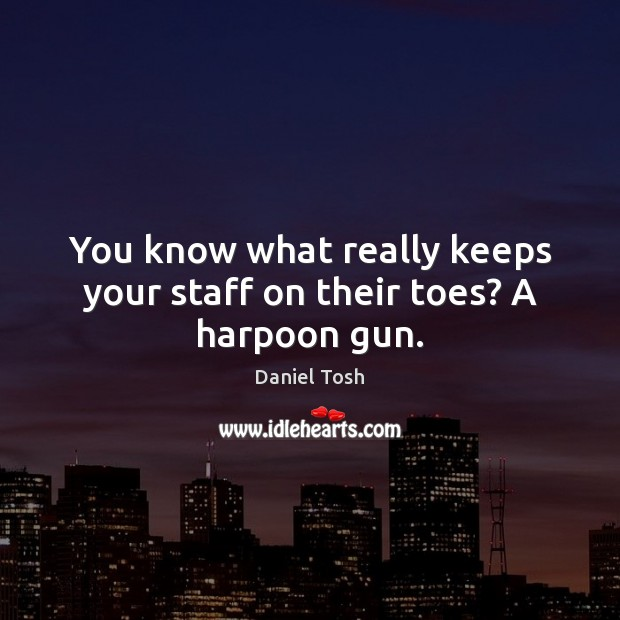You know what really keeps your staff on their toes? A harpoon gun. Daniel Tosh Picture Quote