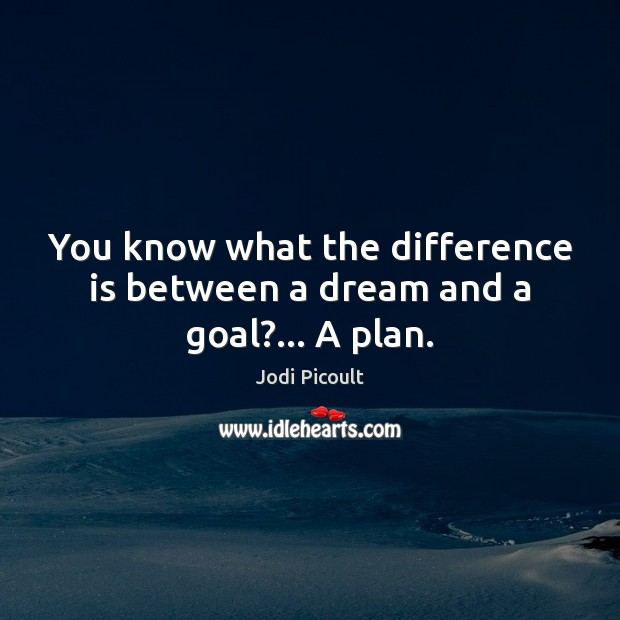 You know what the difference is between a dream and a goal?… A plan. Image