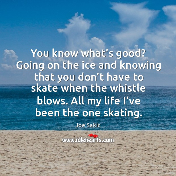 Image, You know what's good? going on the ice and knowing that you don't have to skate when the whistle blows.