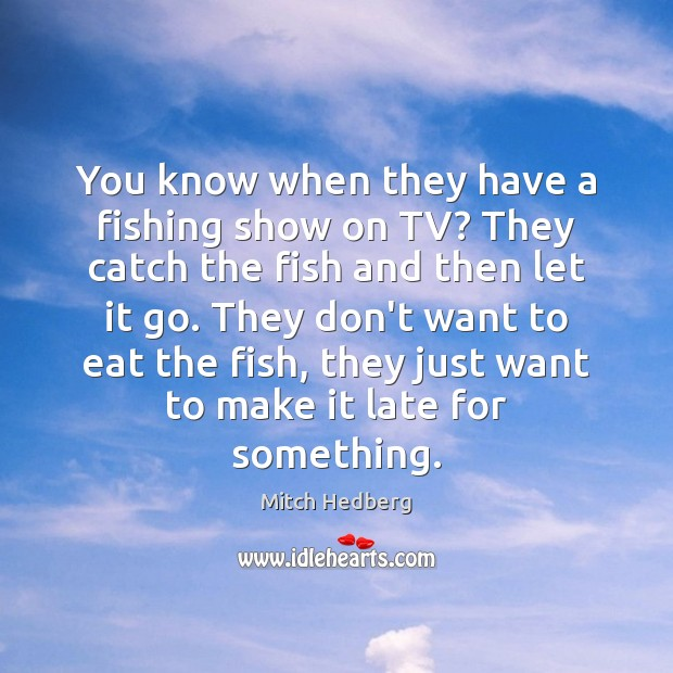 You know when they have a fishing show on TV? They catch Mitch Hedberg Picture Quote