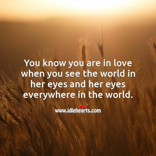 You know you are in love when you see the world in her eyes. Falling in Love Quotes Image
