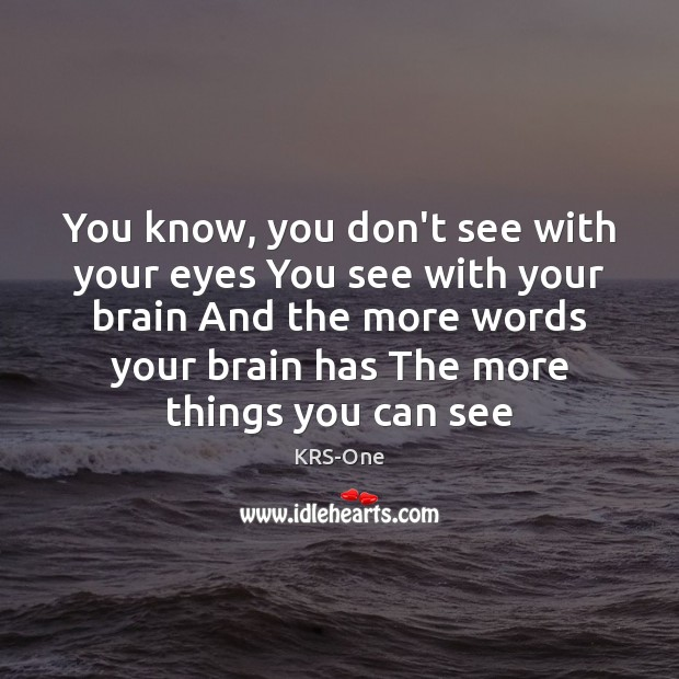You know, you don't see with your eyes You see with your KRS-One Picture Quote