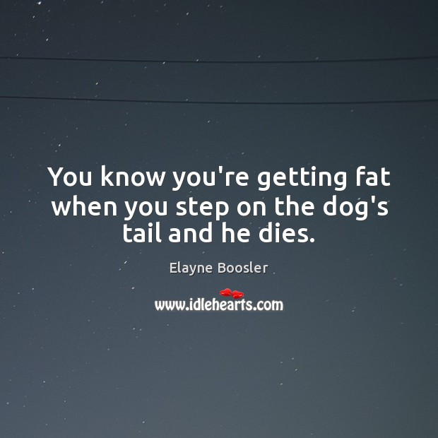 You know you're getting fat when you step on the dog's tail and he dies. Elayne Boosler Picture Quote