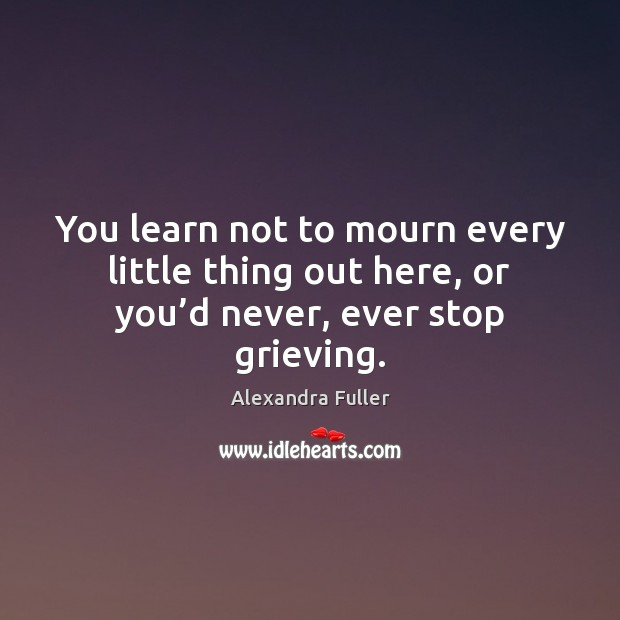 Image, You learn not to mourn every little thing out here, or you'd never, ever stop grieving.
