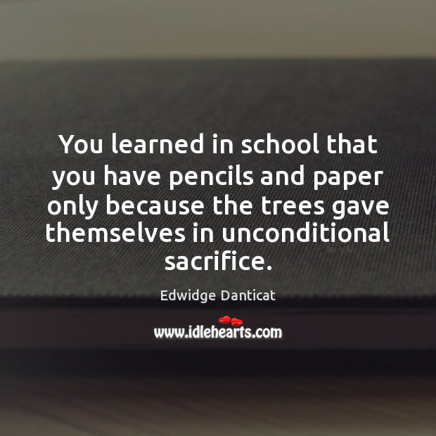 You learned in school that you have pencils and paper only because Edwidge Danticat Picture Quote