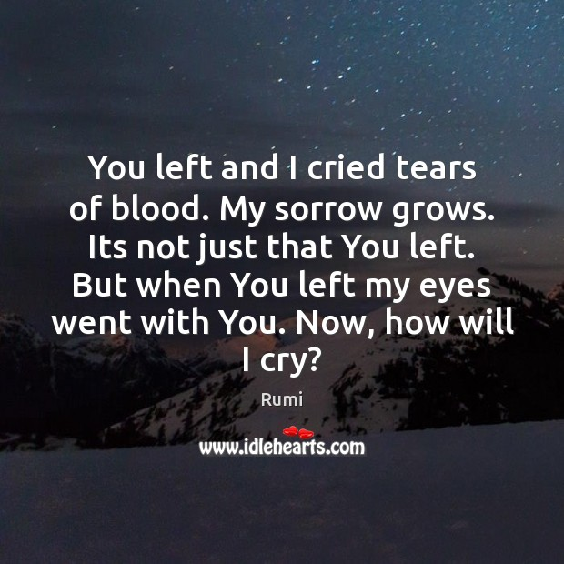 You left and I cried tears of blood. My sorrow grows. Its Image
