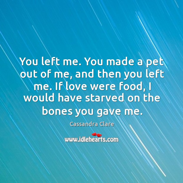 Image, You left me. You made a pet out of me, and then