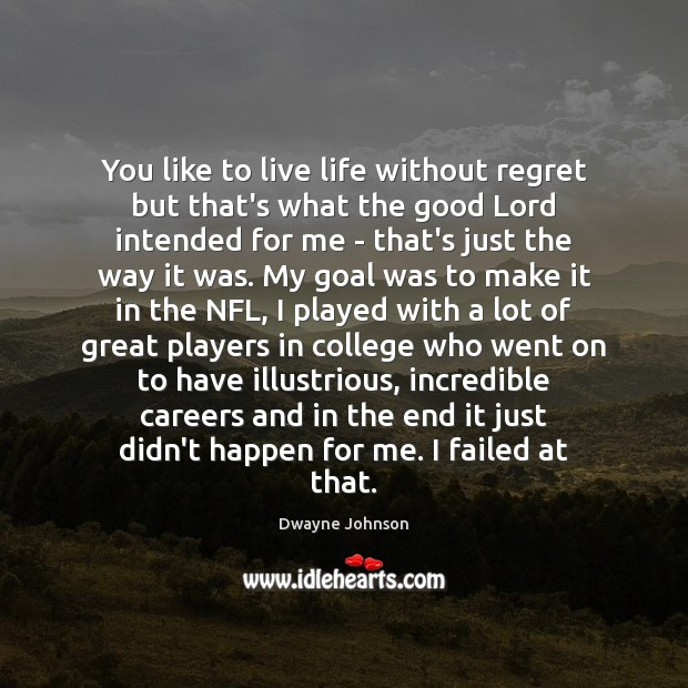 You like to live life without regret but that's what the good Dwayne Johnson Picture Quote