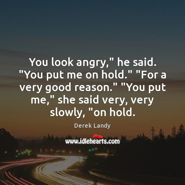 """You look angry,"""" he said. """"You put me on hold."""" """"For a Image"""