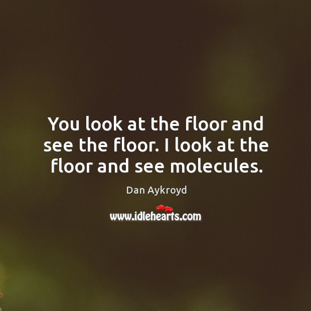You look at the floor and see the floor. I look at the floor and see molecules. Image