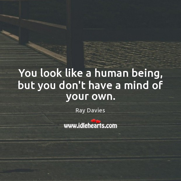 You look like a human being, but you don't have a mind of your own. Ray Davies Picture Quote