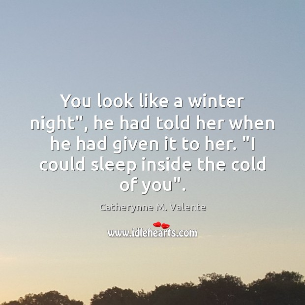 """You look like a winter night"""", he had told her when he Winter Quotes Image"""