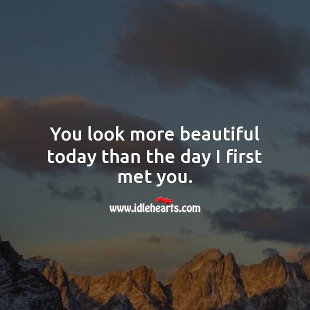You look more beautiful today than the day I first met you. Birthday Messages for Wife Image
