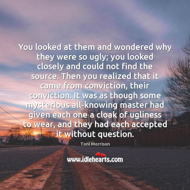 You looked at them and wondered why they were so ugly; you Toni Morrison Picture Quote