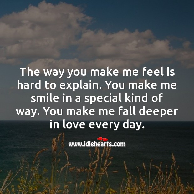 You make me fall deeper in love every day. I Love You Quotes Image