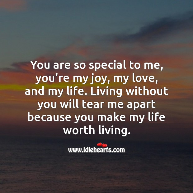 You make my life worth living. Worth Quotes Image