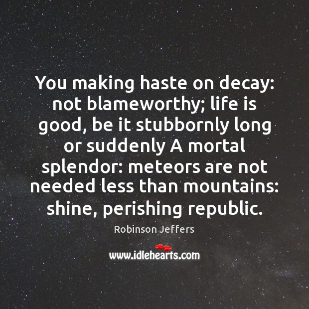 You making haste on decay: not blameworthy; life is good, be it Robinson Jeffers Picture Quote
