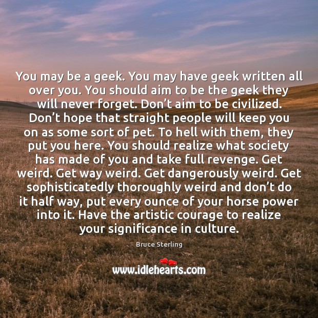 You may be a geek. You may have geek written all over Bruce Sterling Picture Quote