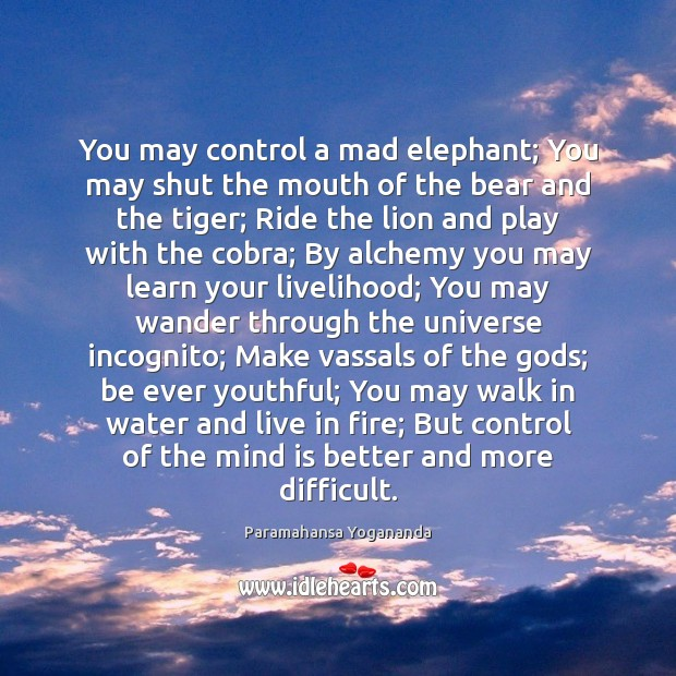 Image, You may control a mad elephant; You may shut the mouth of
