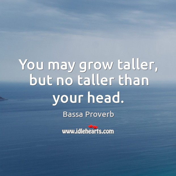You may grow taller, but no taller than your head. Bassa Proverbs Image