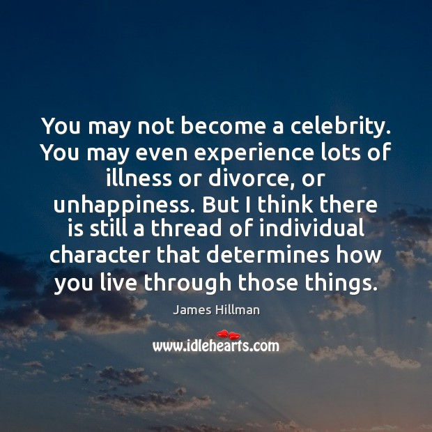 You may not become a celebrity. You may even experience lots of James Hillman Picture Quote