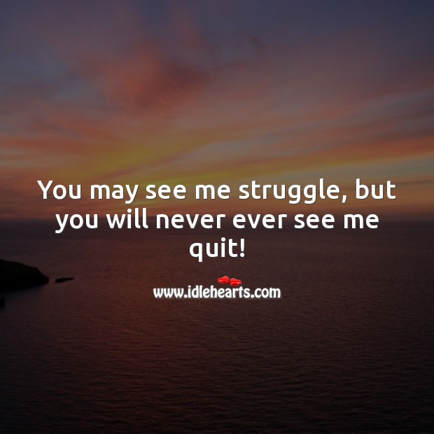 You may see me struggle, but you will never ever see me quit! Positive Attitude Quotes Image