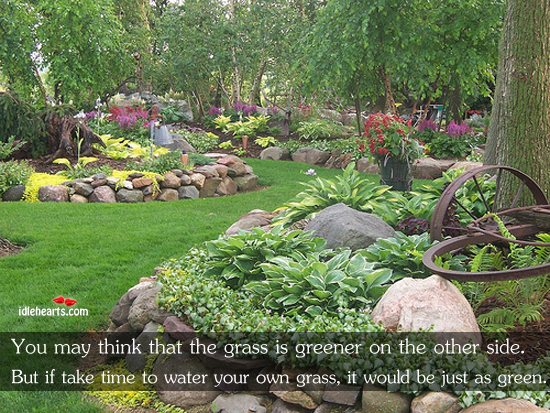 Take time to water your own grass. Image