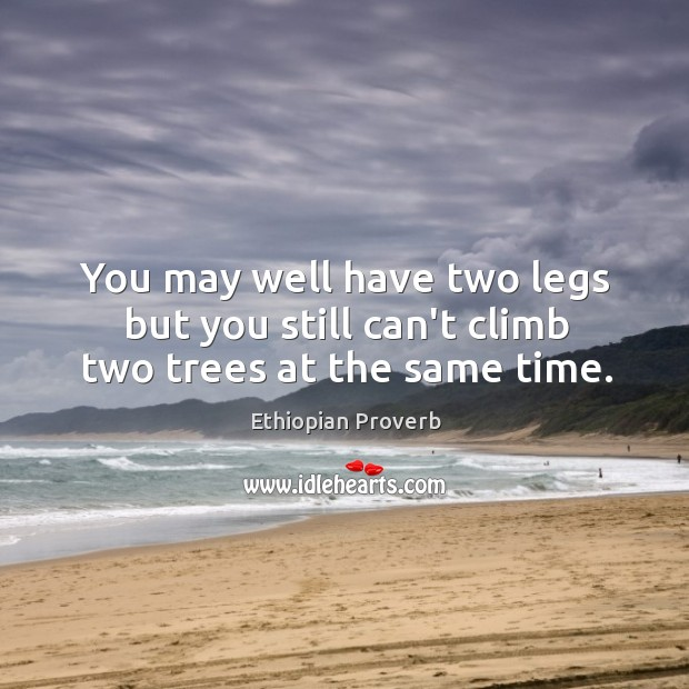 You may well have two legs but you still can't climb two trees at the same time. Ethiopian Proverbs Image