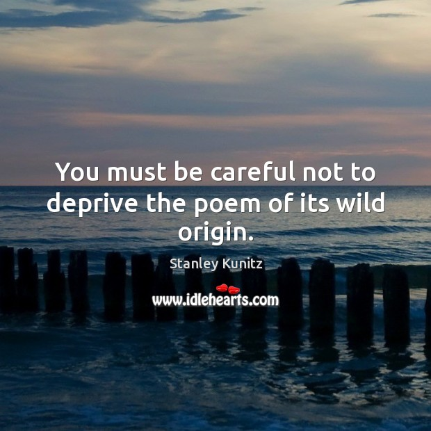 Image, You must be careful not to deprive the poem of its wild origin.