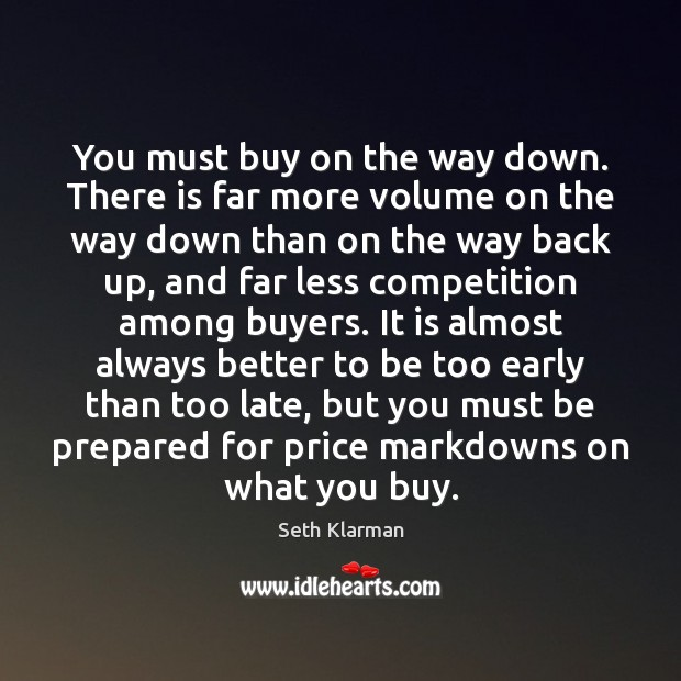 You must buy on the way down. There is far more volume Image
