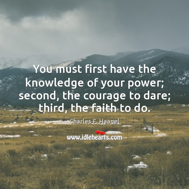 Image, You must first have the knowledge of your power; second, the courage