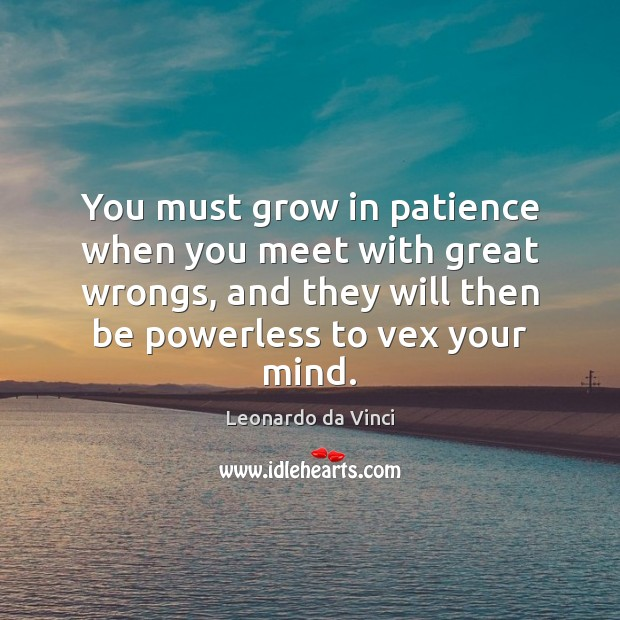 Image, You must grow in patience when you meet with great wrongs, and