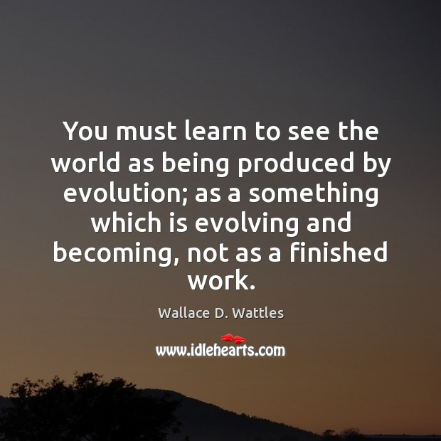 You must learn to see the world as being produced by evolution; Image