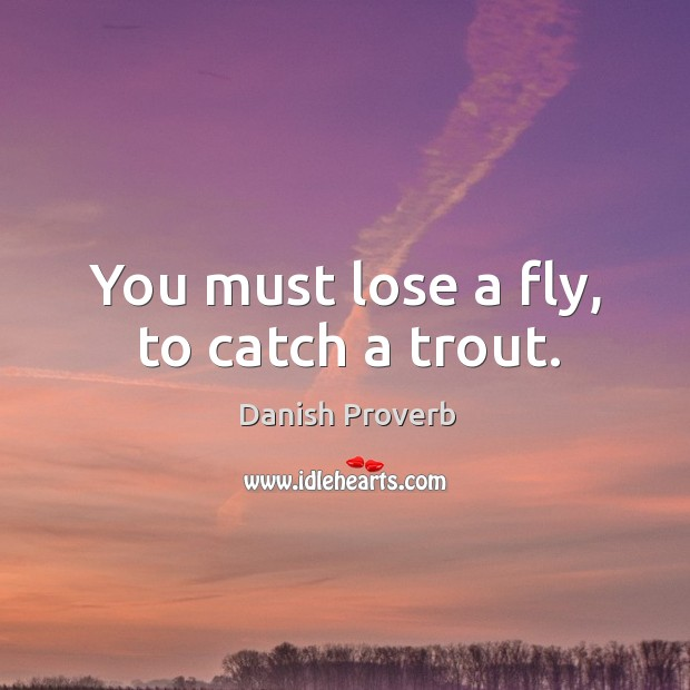 You must lose a fly, to catch a trout. Danish Proverbs Image