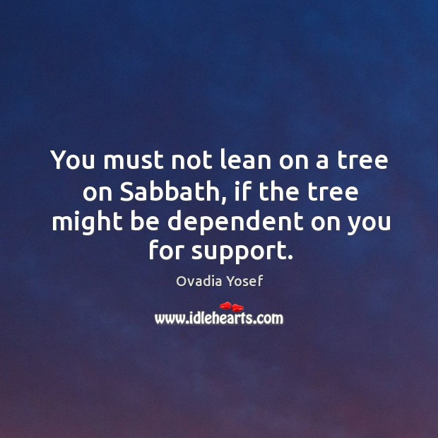 You must not lean on a tree on sabbath, if the tree might be dependent on you for support. Image