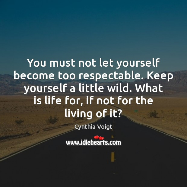 You must not let yourself become too respectable. Keep yourself a little Image