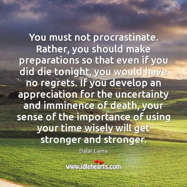 You must not procrastinate. Rather, you should make preparations so that even Dalai Lama Picture Quote
