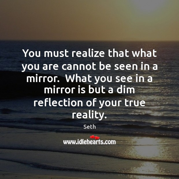 You must realize that what you are cannot be seen in a Seth Picture Quote