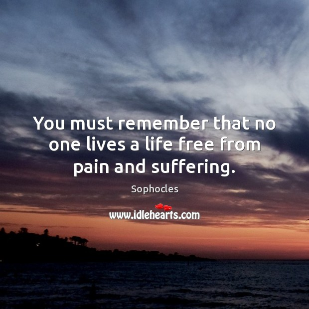 Image, You must remember that no one lives a life free from pain and suffering.