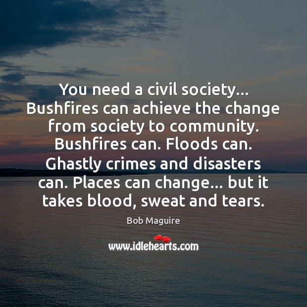 You need a civil society… Bushfires can achieve the change from society Image