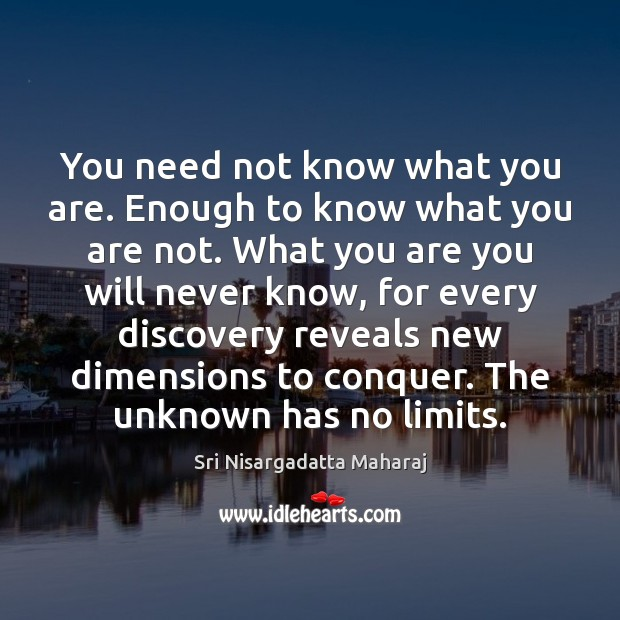 You need not know what you are. Enough to know what you Image