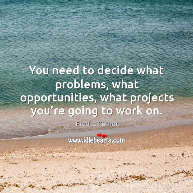 You need to decide what problems, what opportunities, what projects you're going to work on. Fred L. Turner Picture Quote